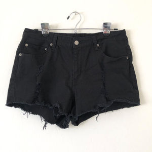 American Bazi Black Distressed Cut Off Shorts